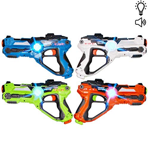deAO Pistole Laser a Infrarossi Set di 4 Armi Giocattolo con Funzione di Proiezione Include Custodia per Il Trasporto