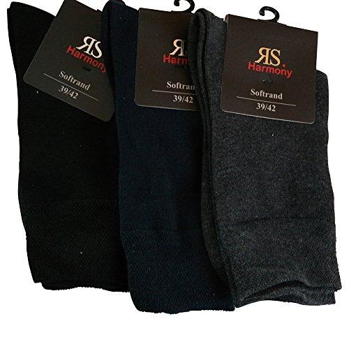 6 Paar Socken Pia RS Harmony Herrensocken ohne Naht Softrand Bw (47-50, Schwarz/Blau/Grau)