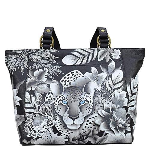 Anuschka Damen Handtasche aus echtem Leder, klassisch, handbemalt, Leopardenmuster (Leder Handtaschen Anuschka)