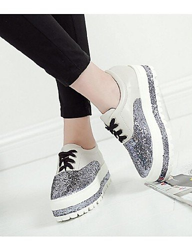 ZQ Scarpe Donna - Sneakers alla moda - Casual - Creepers - Plateau - Finta pelle - Bianco / Argento , silver-us8 / eu39 / uk6 / cn39 , silver-us8 / eu39 / uk6 / cn39 silver-us8 / eu39 / uk6 / cn39