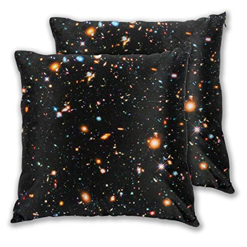 Cushion Covers Pack of 2 Cushion Covers Throw Pillow Cases Shells for Couch Sofa Home Decor Hubble Ultra Deep Field 45cm x 45cm Ultra Light Feather Case