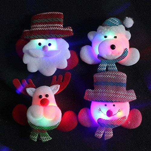 WANG Incandescenza di Natale Spilla Colorful glitter Ornament Led con Badge scherza il regalo di Natale della lu