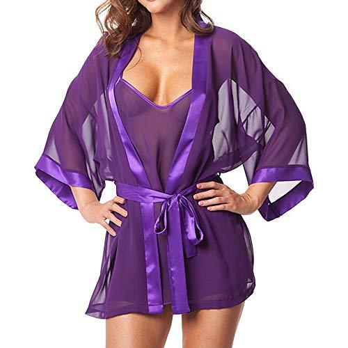 TTLOVE 1Set Frauen Sexy Dessous Babydoll NachtwäSche UnterwäSche Bademantel Damen Morgenmantel Kimono Satin Kurz Robe Sleepwear Chemise Nachthemd Lingerie Negligee(Lila,M)