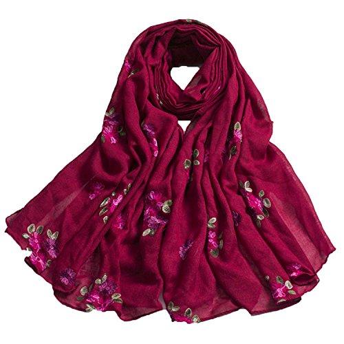 Xsayjia sciarpe estate donna elegante stile nazionale ricami floreali lino sciarpa scialle protezione solare telo mare