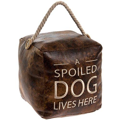 Tope para Puerta de Piel sintética Envejecida, diseño de Cubo Vintage con asa de cuerdaA Spoiled Dog Lives Here