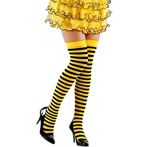 Overknee Strümpfe Biene Maja Ringel Kniestrümpfe gelb-schwarz Halterlose Strümpfe Overknees Damenstrümpfe Sexy Überknie Socken Fasching Schulmädchen Cosplay Mädchen Look Stockings Bienen Thigh High Tier Mottoparty Accessoire Karneval Kostüm Zubehör