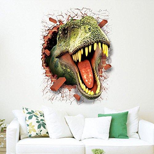 wandaufkleber wandtattoos Ronamick 3D Cool Dinosaurier Vinyl Aufkleber Decals Park Wandbild Kinderzimmer Dekor Wandtattoo Wandaufkleber Sticker Wanddeko (Multicolor) - Cool Glitzer