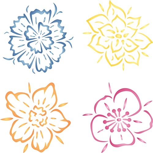 Blume Schablone-wiederverwendbar Groß Fancy Blumen Wandbild Wand Schablone-Vorlage, auf Papier Projekte Scrapbook Tagebuch Wände Böden Stoff Möbel Glas Holz etc. m