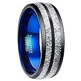 Ring damen schwarz/blau aus Wolfram, imitiertes Meteorit-Design Nuncad, Ring für Fashion, Hochzeit, Außenbreite 8mm, Größe 54