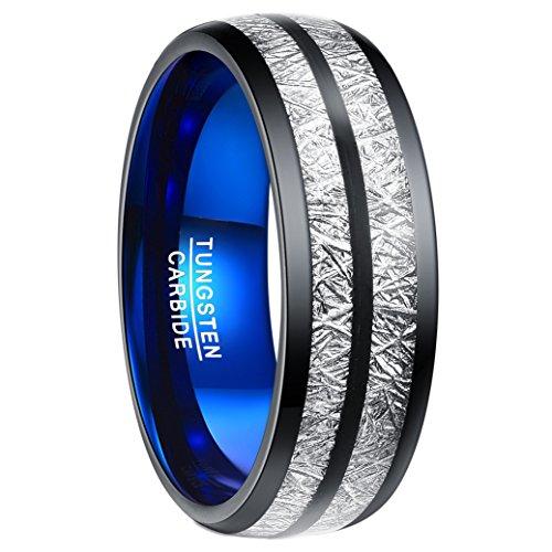 Ring für Damen Größe 59, schwarz/blau, Sternhimmel Ring mit imitiertem Meteorit-Design, 8mm breit bequem, Wolfram Ring Nuncad