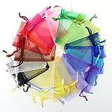 YFZYT Mischfarben Organza Beutel Kordelzug Verpackung Beutel Wrap Idee für Geschenk Hochzeit Schmuck Candy Sandbags Weihnachten Baby Shower - 100 Stück, 16x22 cm, Zufällige Farbe