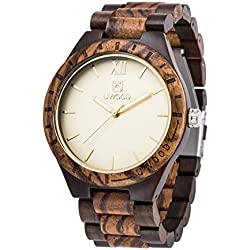 LinTimes Men Wood Watch Wooden Quartz Luminous Pointers Gift Giving Wrist Watch Sandalwood Zebrawood
