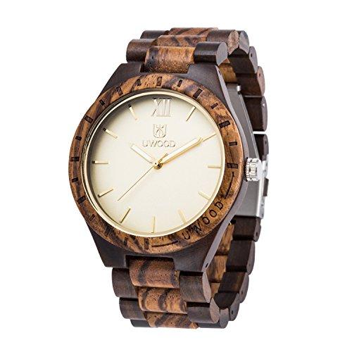 Uwood - Reloj para hombre de madera estilo vintage con mezcla de madera de sándalo de color negro y madera de cebra(MIXED)