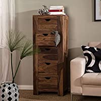 WOODSTAGE Wooden Furniture Natural Finish Side Board | Chest of Drawer | Wooden Cabinet | 5 Drawers | for Kitchen…