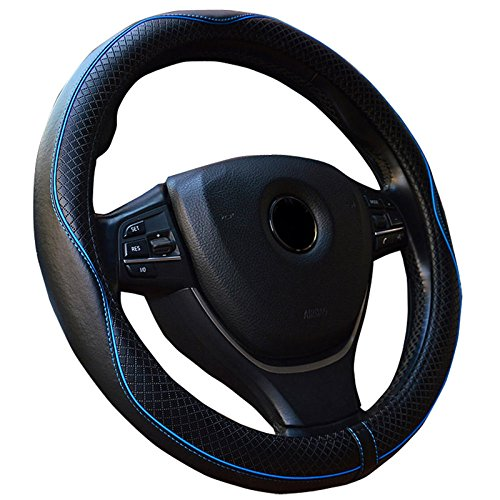 Semoss Gute Grad Echt Leder Sport Lenkradbezug Lenkradhülle Lenkradabdeckung Lenkradschoner Universal Steering Wheel Cover mit Blau Line,Dimension:37-38cm