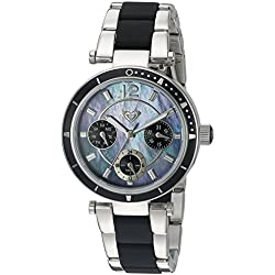 Roxy Women's RX/1004JMSV THE MANHATTAN Silver-Tone and Black Silicone Bracelet Watch