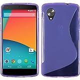 PhoneNatic Case kompatibel mit Google Nexus 5 - lila Silikon Hülle S-Style + 2 Schutzfolien