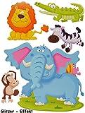 Unbekannt 5 tlg. Set 3-D ! Wandtattoo / Fensterbild -  Affe Elefant - Tiere Tier Afrika  - Pappe Selbstklebend - Wandsticker / Pappsticker - Affe - Löwe Krokodil / Wildtiere