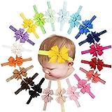 Paquete de 20 diademas para bebés de lazo de grogrén