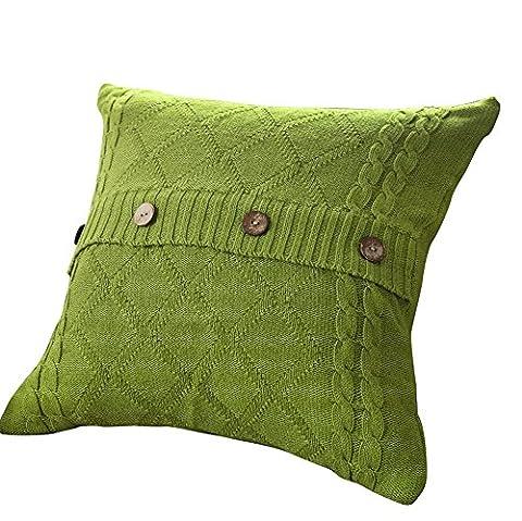 VClife® Baumwolle Zierkissenbezug 45*45cm Gestrickt Kissenbezug Sofa Büro Dekokissen Zimmer Auto Bettkissen Kissenhülle Knopf