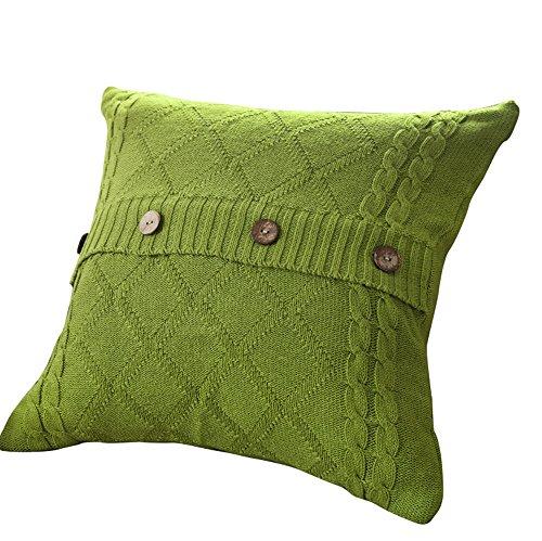 VClife® Baumwolle Zierkissenbezug 45*45cm Gestrickt Kissenbezug Sofa Büro Dekokissen Zimmer Auto Bettkissen Kissenhülle Knopf Grün