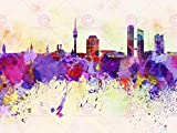 Doppelganger33 LTD Painting Illustration Cityscape Paint Splash Skyline Munich Canvas Art Print