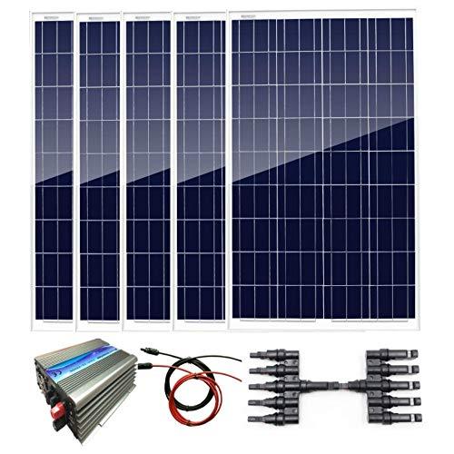 Contenido del paquete: * 5 x 100 W panel solar de poliéster (cada uno tiene 90 cm de cable especial con conectores MC4 conectados a la caja de derivación). * 1 inversor de corbata de 1000 W. * 1 x Total 5 metros rojo y negro cable solar con conectore...