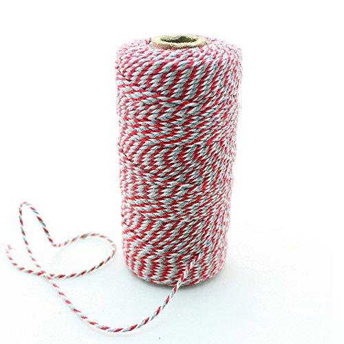 Ipalmay 100 m Bobine de Ficelle de Coton pour Emballage Cadeau ou de décoration de Ficelle de fêtes, 3 Couches, Multicolore Taille Unique Red/Grey/White