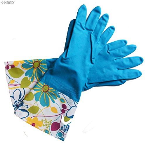 yx-8031Extra Dick Luxuriöse Thermo gefüttert oben offen Haushalt Reinigen Handschuhe, Arme Größe L–Pack von 2Paar (Teich Pack)