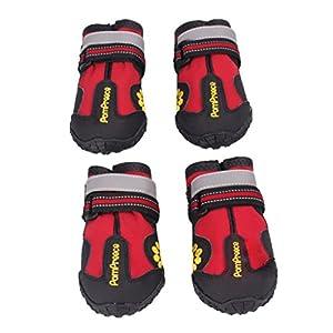 Ularma 4PCS Imperméable à l'eau Animal de compagnie Bottes pour Médium À Grande Chiens Labrador Husky Chaussures Rouge (taille 5)