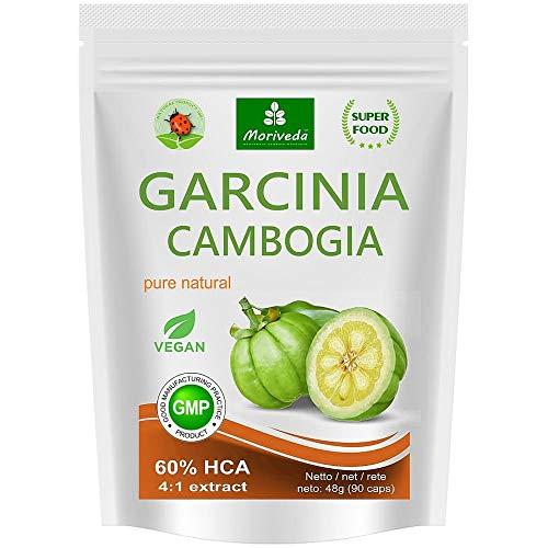 Garcinia Cambogia Kapseln (4:1 Extrakt, 60% HCA) 100% Vegan mit Kalzium, Fettblocker, Fat Blocker - garantiert frei von Trennmitteln und Stearaten, 90 Caps