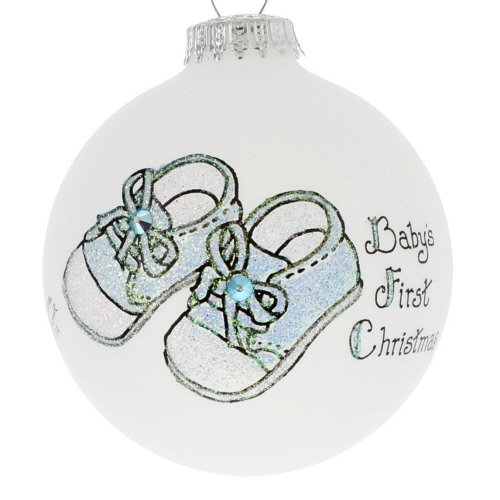 Home and Holiday Shops Baby Boys First Christmas Blue Booties Made in USA Glass Christmas Ornament Shop Baby-booties