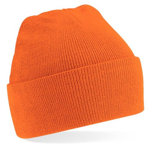 Beechfield Knitted hat with turn up in Orange (Orange Baseball Mütze)