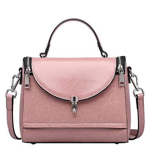 DRAKE1118 Arzt Tasche für Frauen Square Crossbody Vintage rustikale Retro-Stil aus echtem Leder handgefertigte Handtasche,Pink -