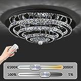 JDONG Hochwertige LED Kristall Deckenleuchte Deckenlampe 72W Diamant Style Kronleuchter Wohnzimmer Helligkeit und Farbtemperatur dimmbar mit Fernbedienung (silber) [Energieklasse A+] 10816-72W-WJ
