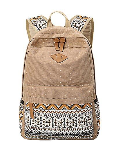 Outdoor Freizeit für Universität Mädchen Schulrucksack Damen Canvas Rucksack Teenager Schultasche Daypacks Khaki