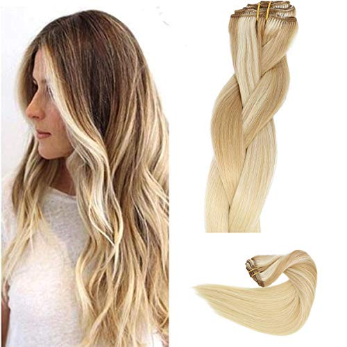 Clip in Haarverlängerung Remy Menschenhaar 8A Brasilianisches Haar 120g 100% Menschenhaar #(12T613) P613 Blonde Ombre Balayage Extension Clip in Extensions 16Zoll/40cm (Clip Haar Ombre, Extensions In)