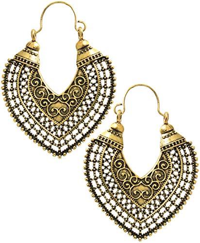 2LIVEfor Goldene Ohrringe Ethno Gross Hoop verziert Ohrringe Bohemian Vintage Ohrringe lang Hängend Antik Style gold Ornamente Creolen Tropfen Creole Ornamente