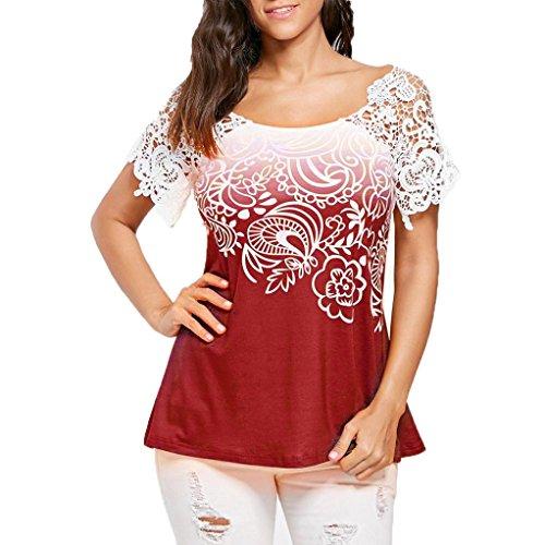 Schnürung Trim (OVERDOSE Casual Damen Sommer T-Shirt Tops Bluse Spitzennähte Floral Bedruckte O-Ausschnitt Trim Frauen Oberteile(Rot,XL))