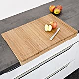 from Relaxdays Relaxdays Bamboo Chopping Board, 5 x 56 x 38 cm, Kitchen Cutting Board with Juice Rim and Edge, Natural Brown Model 10014640