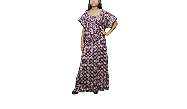 Indiatrendzs Women Maxi Nighty Floral Printed House Wear Nightgown (Dark  Purple)  Amazon.in  Clothing   Accessories 074f5ac4f