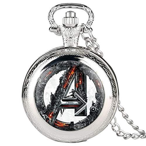 LIUCH TaschenuhrRetro Quarz Taschenuhr Halskette Anhänger Kette Uhr Stunden Geschenke für Männer Frauen Fans Collectibles-Fashion Silber