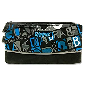 Premier papelería explorar»negro & gris de rayas» 3bolsillo lápiz case-p, color Letters with Blue