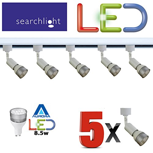 SEARCHLIGHT LED GU10 WHITE TRACK LIGHTING 5 X