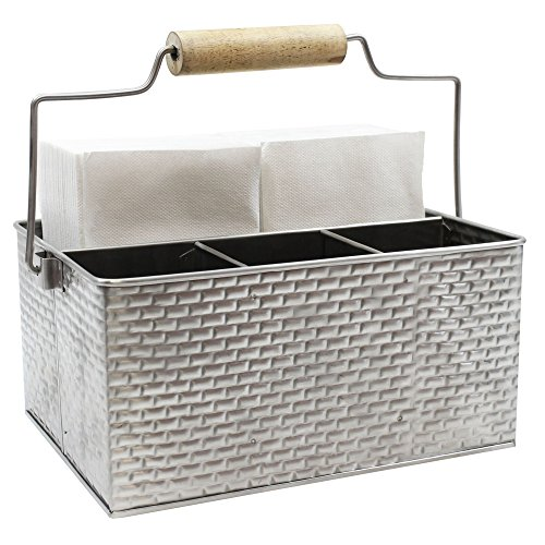 TableCraft Brickhouse Collection Flatware/Utensil Caddy with Handle, 10¾ x 8½ x 4¾