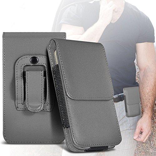 I-Sonite (Grey) Premium Vertikal Kunstleder Gürtelholster Pouch Cover mit Magnetverschluss für Blu Dash L4 LTE [Large ] (Blu Dash Cover)