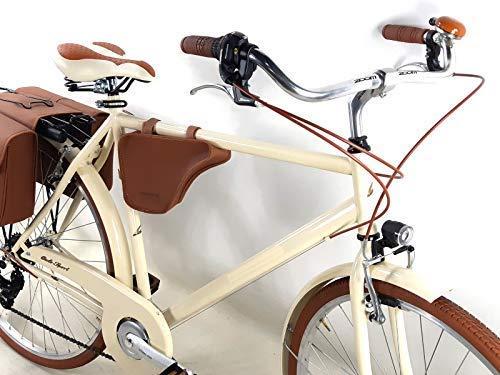PROMOCIÓN - Idea Regalo Navidad 2019 / Bicicleta Hombre Vintage con bolsas y HOMBRO Incluido - Shifter Shimano 6 velocidad - Color Crema Bici vintage retro época - bicicleta Regalo hombre