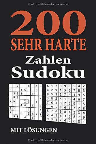 200 sehr harte Zahlen Sudoku mit Lösungen: zwei 9x9 Rätsel pro Seite | im handlichen Taschen Format ca. A5 - Softcover | Geschenkidee für Knobel, ... & Sudoku Fans | Rätselbuch / Rätselblock -