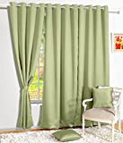 Story@Home Premium Blackout Solid 2-Piece Cotton Window Curtain Set - 5ft, Light Green