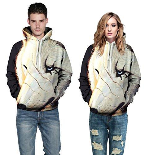 AMOMA Damen digitaldruck Kapuzenpullover Tops Unisex Hoodie Pullover Hooded Sweatshirt One Eyed Wolf